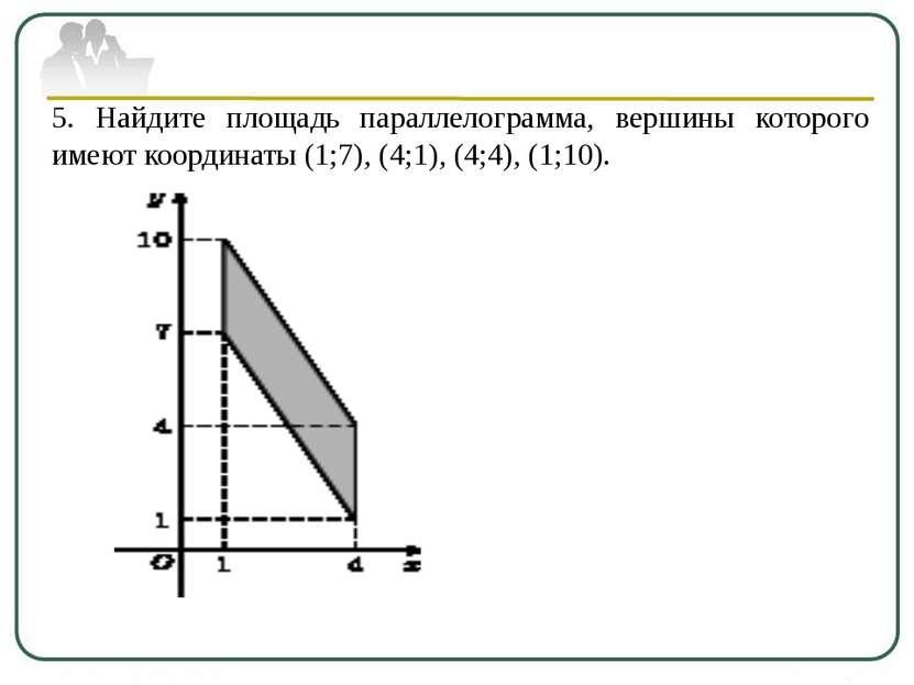 5. Найдите площадь параллелограмма, вершины которого имеют координаты (1;7), ...