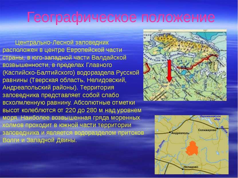 Географическое положение Центрально-Лесной заповедник расположен в центре Евр...