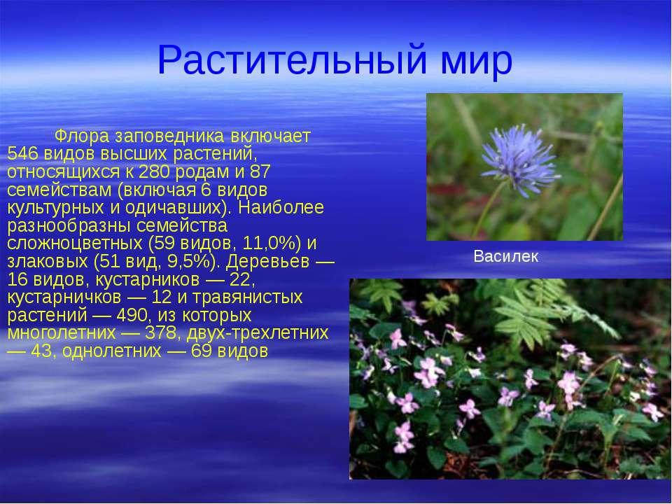 Растительный мир Флора заповедника включает 546 видов высших растений, относя...