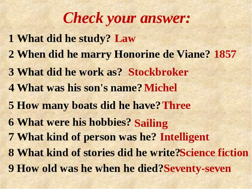 Check your answer: 1 What did he study? Law 2 When did he marry Honorine de V...