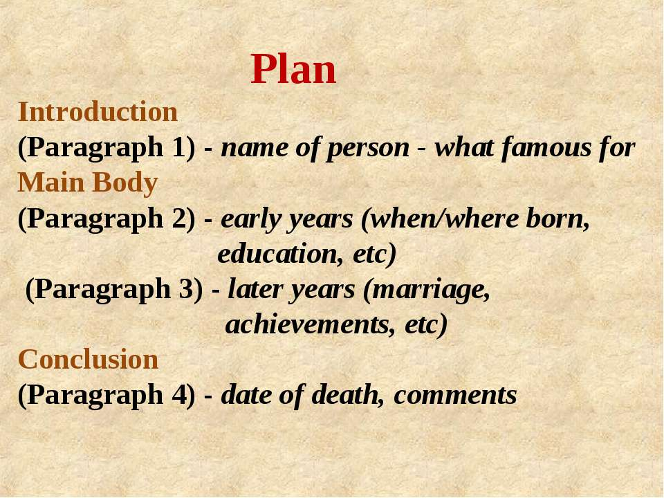 Plan Introduction (Paragraph 1) - name of person - what famous for Main Body ...