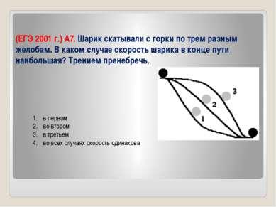 (ЕГЭ 2001 г.) А7. Шарик скатывали с горки по трем разным желобам. В каком слу...