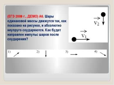 (ЕГЭ 2008 г., ДЕМО) А6. Шары одинаковой массы движутся так, как показано на р...