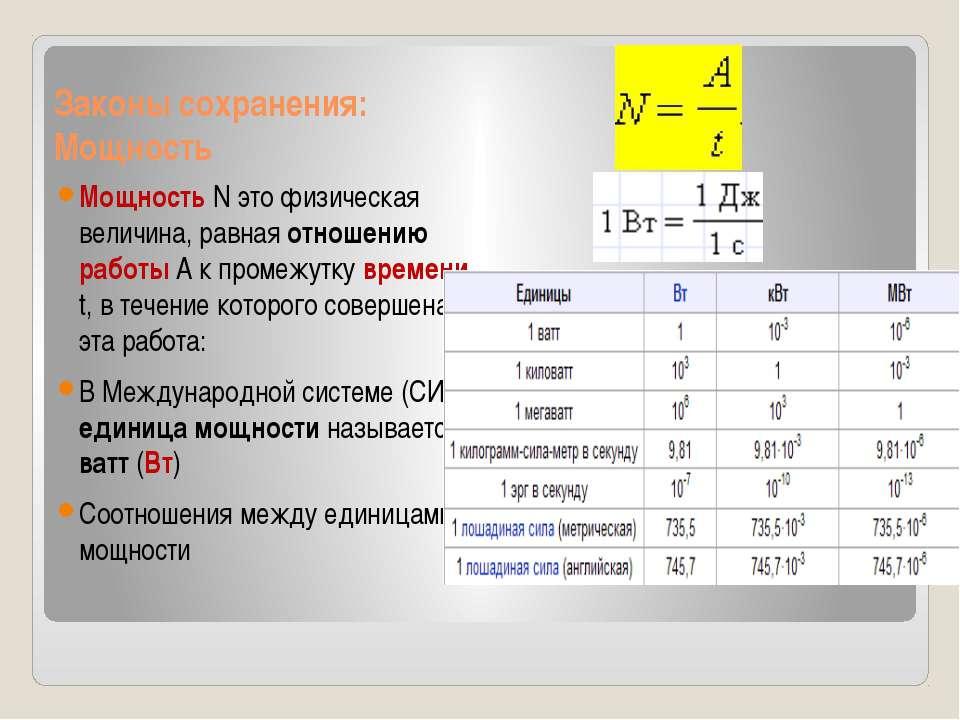 Законы сохранения: Мощность Мощность N это физическая величина, равная отноше...