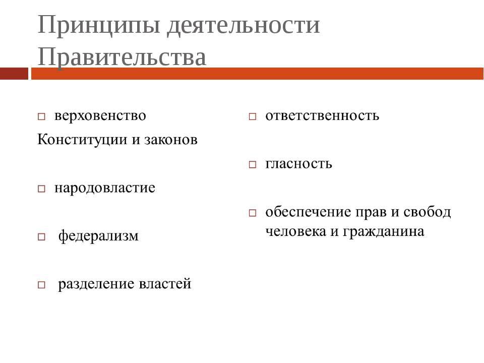 Принципы деятельности Правительства