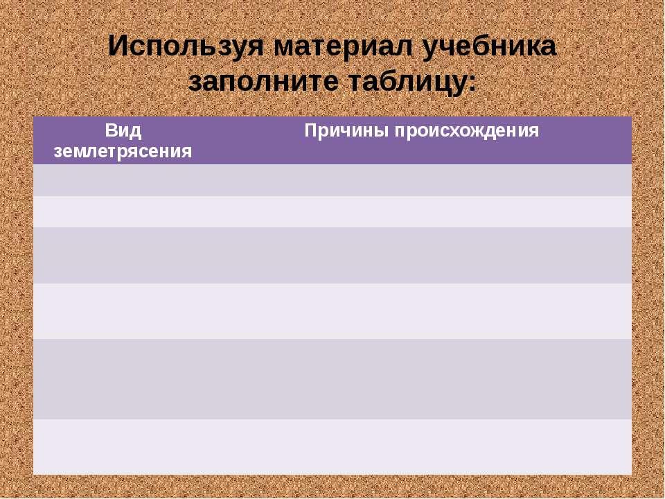 Используя материал учебника заполните таблицу: Вид землетрясения Причины прои...