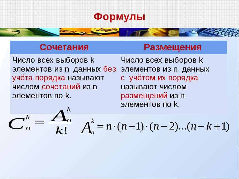 Формулы Сочетания Размещения Число всех выборов k элементов из n данных без у...