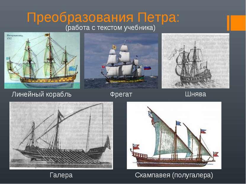 Преобразования Петра: (работа с текстом учебника) Линейный корабль Фрегат Гал...