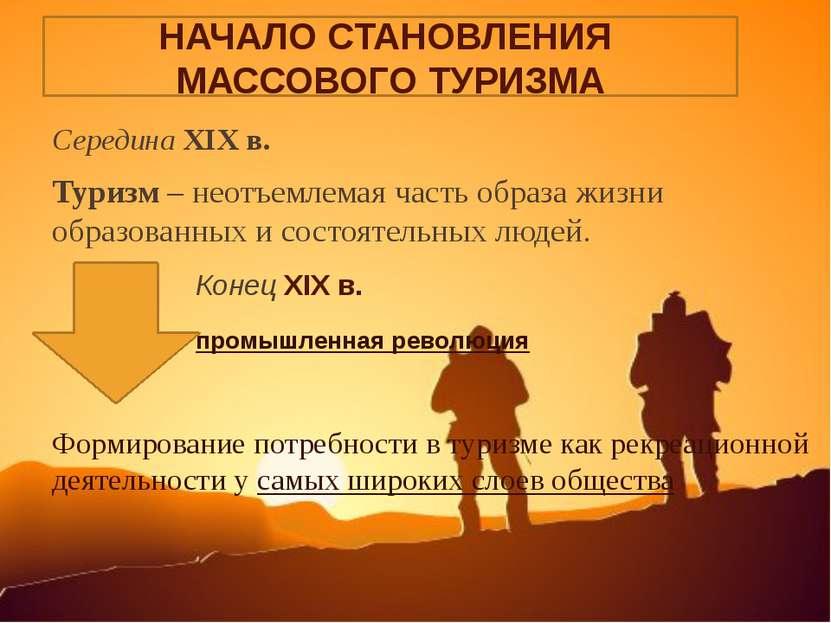 Середина XIX в. Туризм – неотъемлемая часть образа жизни образованных и состо...