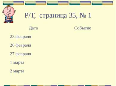 Р/Т, страница 35, № 1 Дата Событие 23 февраля 26 февраля 27 февраля 1 марта 2...