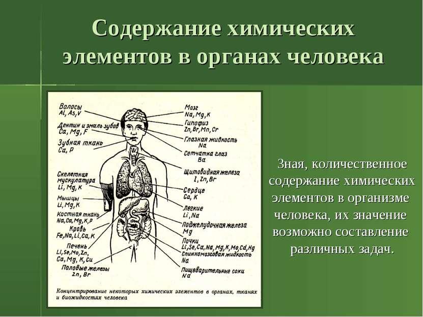 Содержание химических элементов в органах человека Зная, количественное содер...