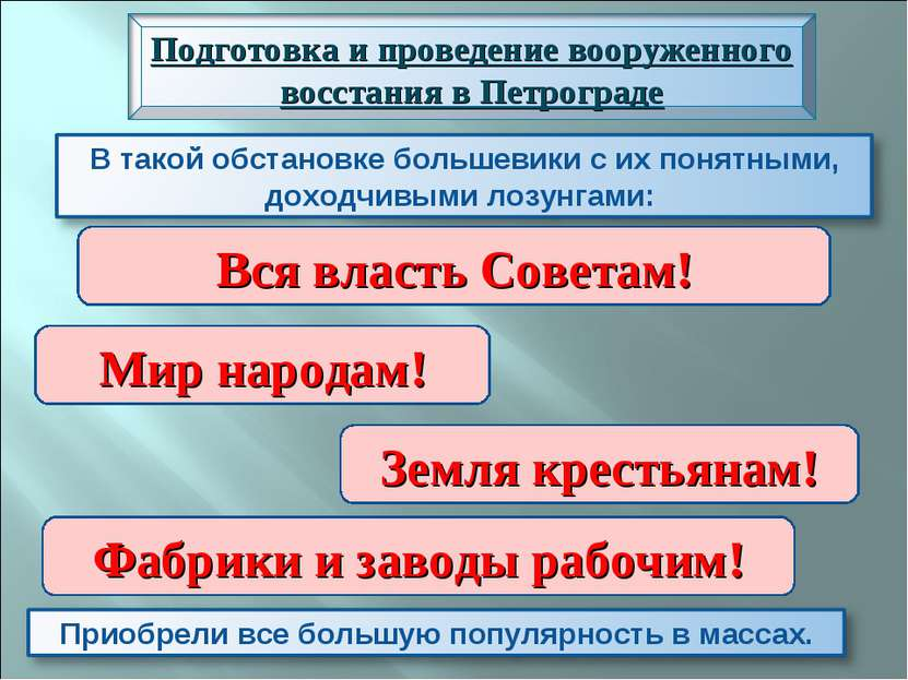 Вся власть Советам! Мир народам! Земля крестьянам! Фабрики и заводы рабочим!