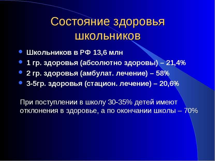 Состояние здоровья школьников Школьников в РФ 13,6 млн 1 гр. здоровья (абсолю...
