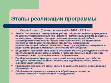 Этапы реализации программы Первый этап (диагностический) – 2010 – 2011 гг. Ан...