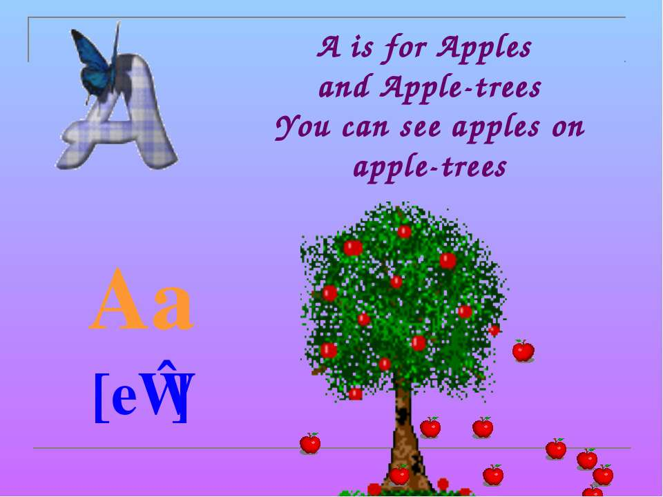 A is for Apples and Apple-trees You can see apples on apple-trees Aa [eɪ]