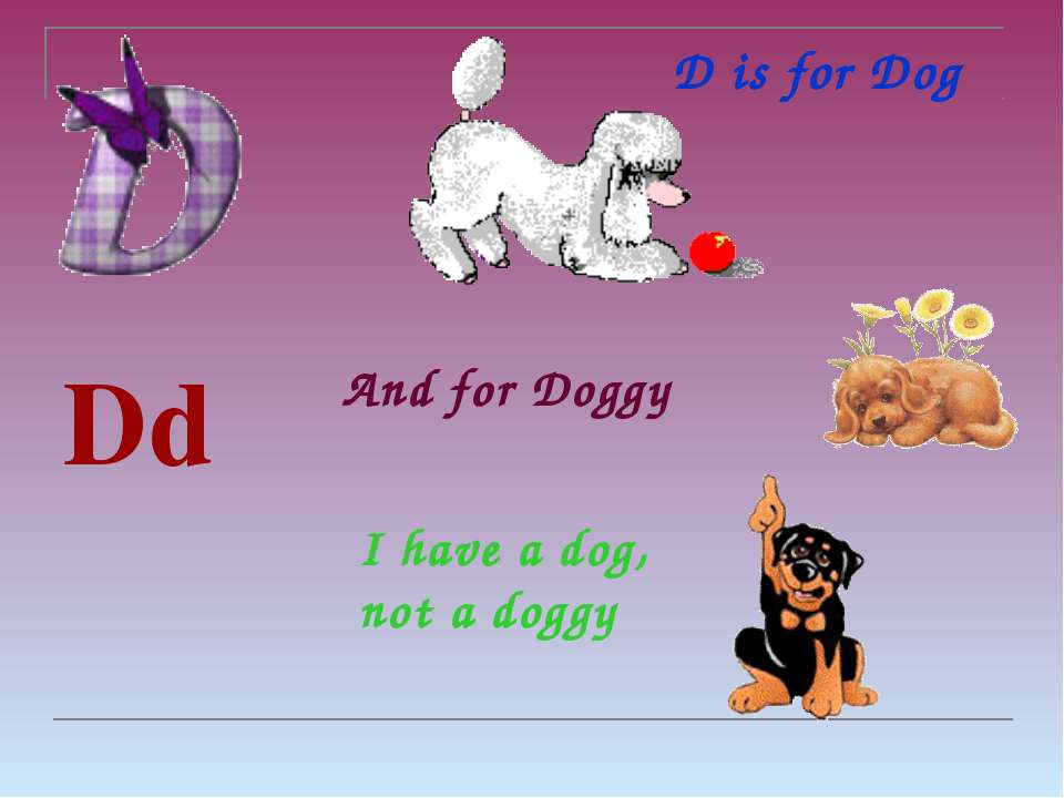 D is for Dog Dd [dɪ:] And for Doggy I have a dog, not a doggy