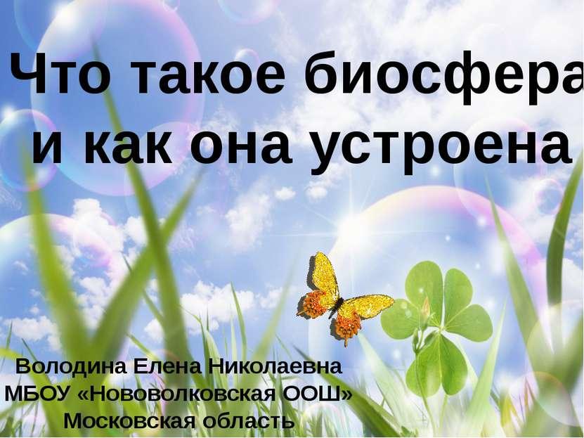 Что такое биосфера и как она устроена Володина Елена Николаевна МБОУ «Нововол...