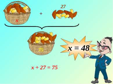 х х + 27 = 75 х = 48 + 27 75 Запись условия задачи и решение - на доске и в т...
