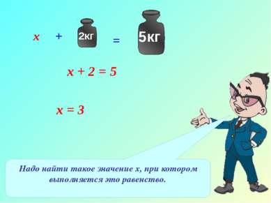 х + 2 = 5 Надо найти такое значение х, при котором выполняется это равенство....