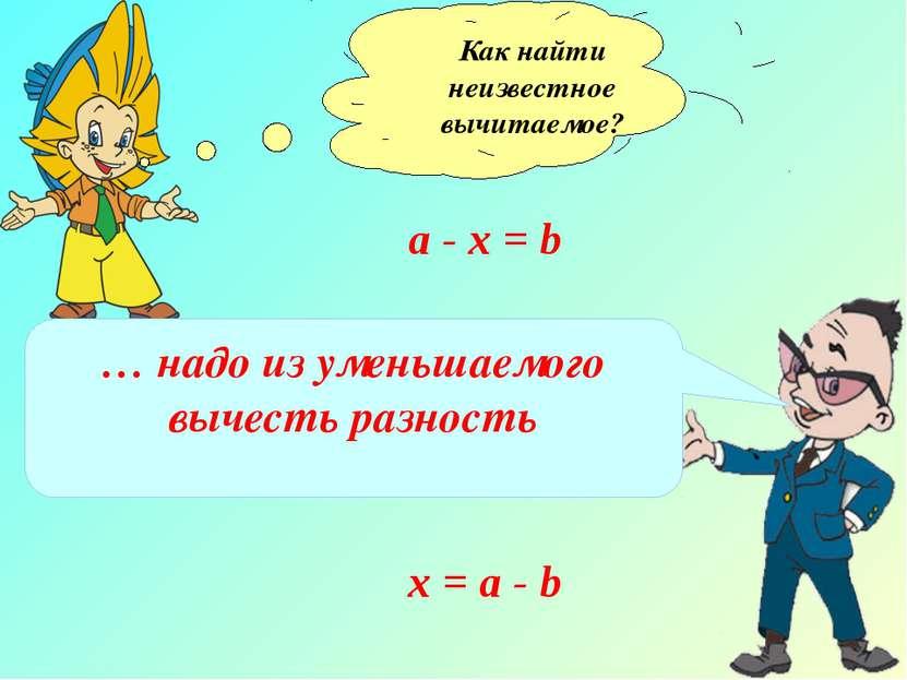 Как найти неизвестное вычитаемое? а - х = b … надо из уменьшаемого вычесть ра...