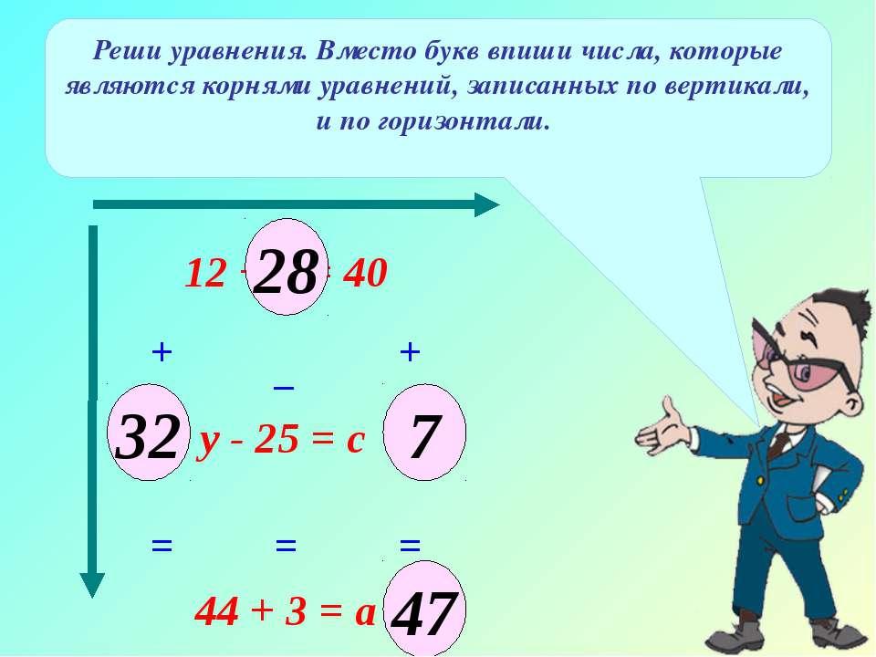 12 + х = 40 Реши уравнения. Вместо букв впиши числа, которые являются корнями...