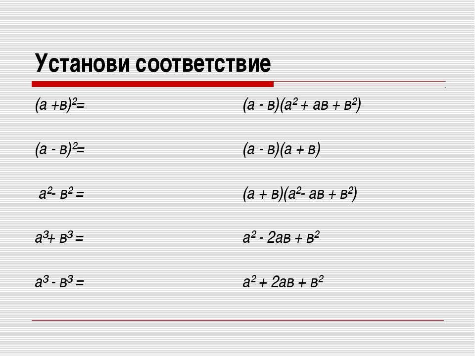 Установи соответствие (а +в)²= (а - в)(а² + ав + в²) (а - в)²= (а - в)(а + в)...