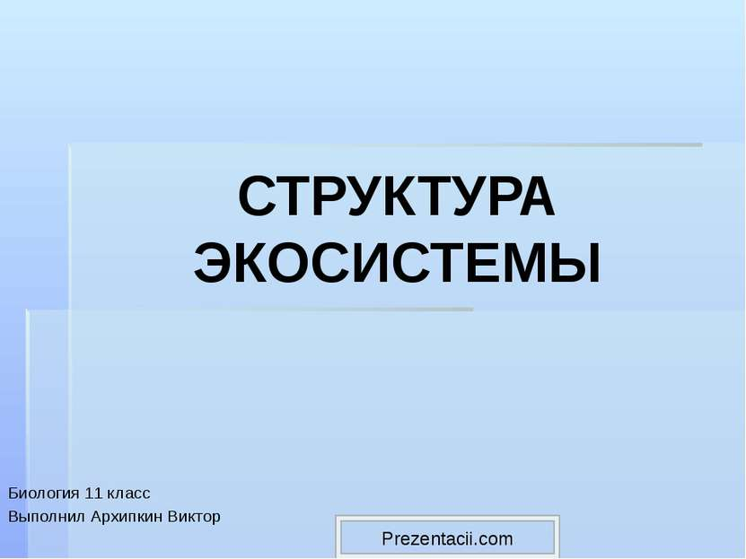 СТРУКТУРА ЭКОСИСТЕМЫ Биология 11 класс Выполнил Архипкин Виктор Prezentacii.com