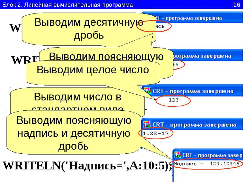 Блок 2. Линейная вычислительная программа 16 WRITELN('Надпись'); WRITELN(A:10...