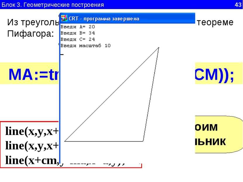 Блок 3. Геометрические построения 43 Из треугольника CMA, прямоугольного, по ...