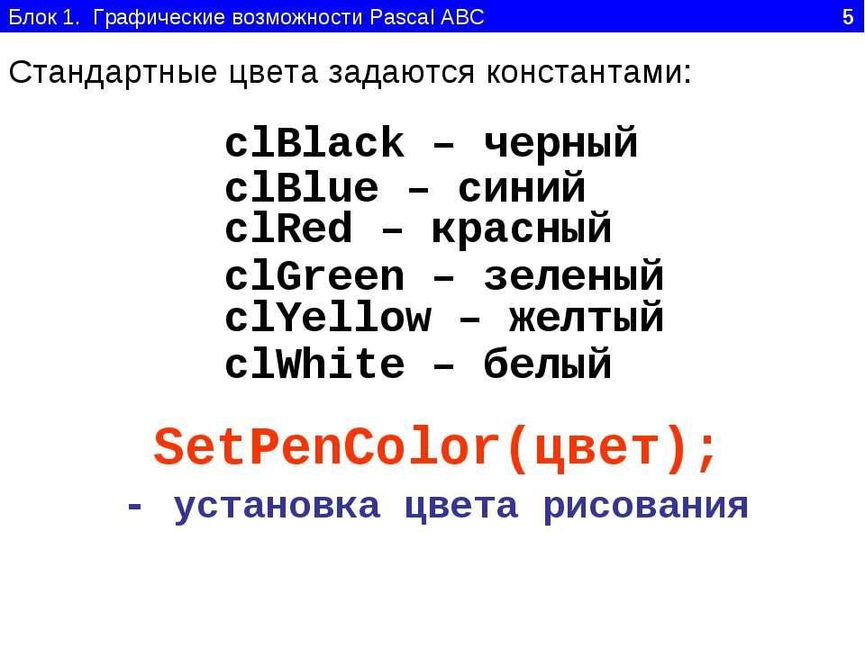Блок 1. Графические возможности Pascal ABC 5 Стандартные цвета задаются конст...