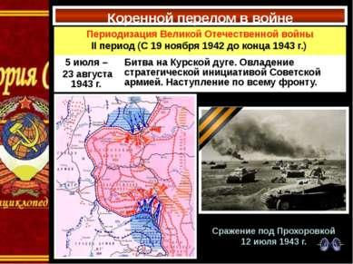 Коренной перелом в войне Сражение под Прохоровкой 12 июля 1943 г. Периодизаци...