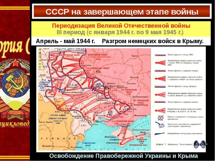 Освобождение Правобережной Украины и Крыма СССР на завершающем этапе войны Пе...