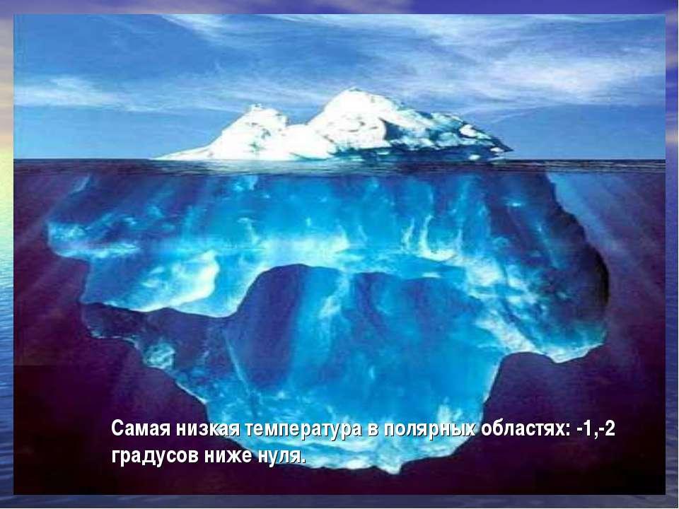 Самая низкая температура в полярных областях: -1,-2 градусов ниже нуля.