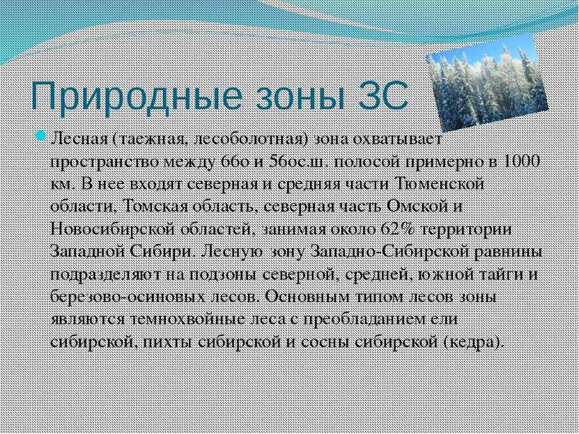 Природные зоны ЗС Лесная (таежная, лесоболотная) зона охватывает пространство...