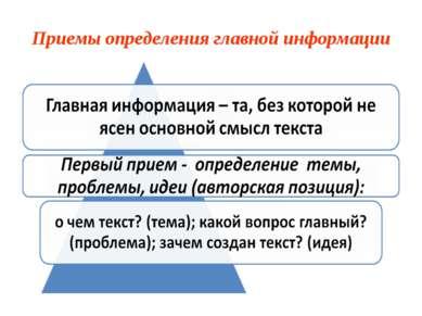 Приемы определения главной информации