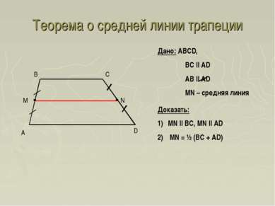 Теорема о средней линии трапеции A D B C Дано: ABCD, BC || AD AB || AD MN – с...