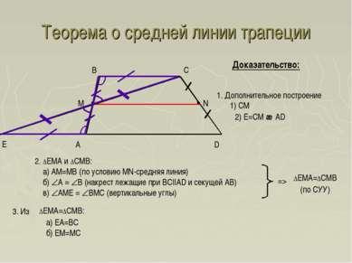 Теорема о средней линии трапеции A D B C Доказательство: Е 1. Дополнительное ...