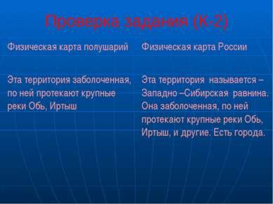 Проверка задания (К-2) Физическая карта полушарий Физическая карта России Эта...