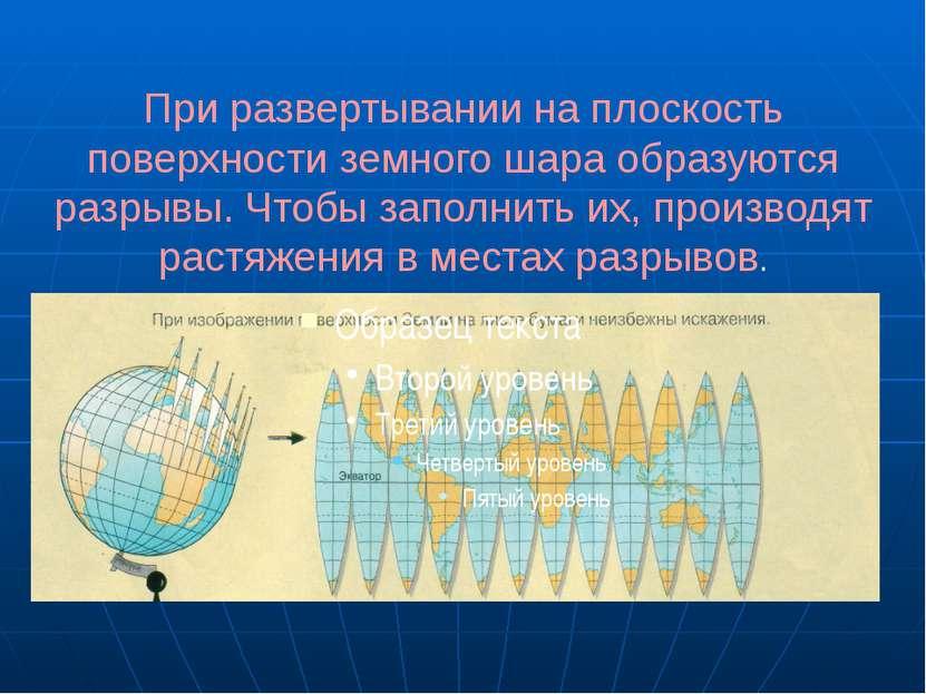 При развертывании на плоскость поверхности земного шара образуются разрывы. Ч...