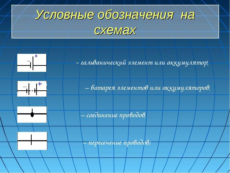 Условные обозначения на схемах – гальванический элемент или аккумулятор; – ба...