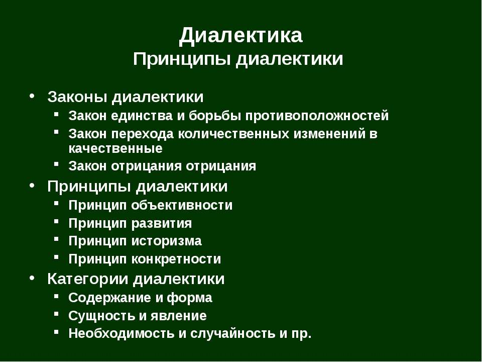 Диалектика Принципы диалектики Законы диалектики Закон единства и борьбы прот...