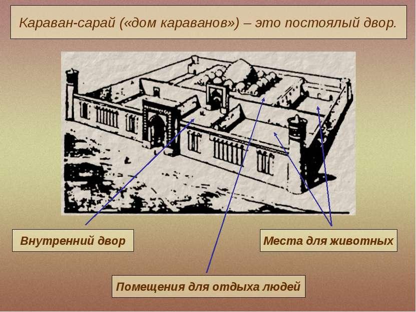 Караван-сарай («дом караванов») – это постоялый двор.