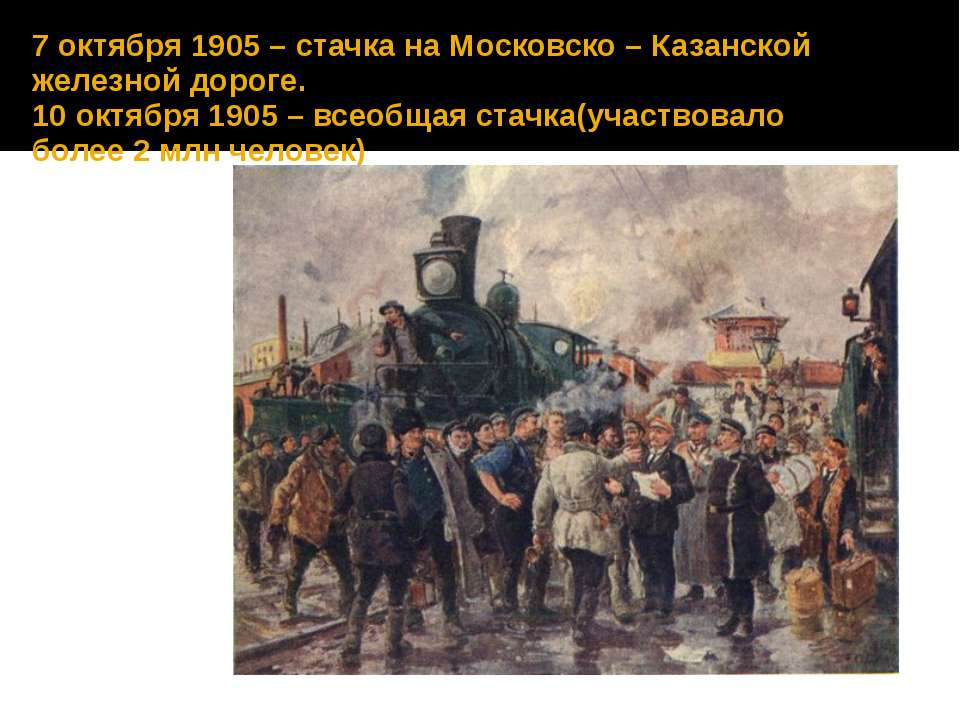 7 октября 1905 – стачка на Московско – Казанской железной дороге. 10 октября ...