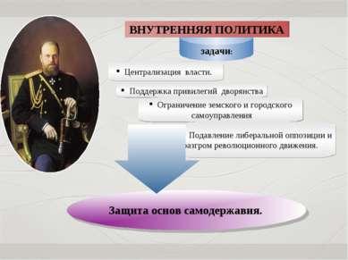 Защита основ самодержавия. Задачи: ВНУТРЕННЯЯ ПОЛИТИКА Централизация власти. ...