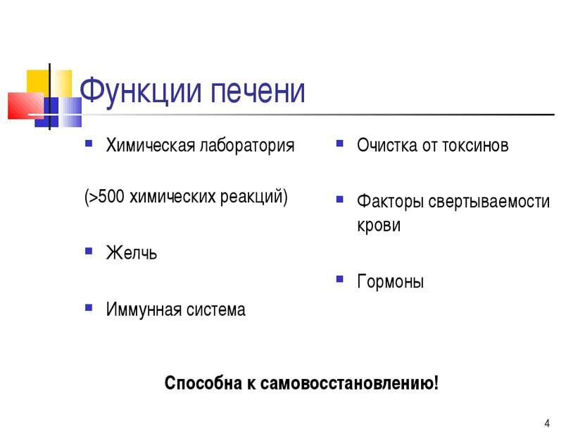 * Функции печени Химическая лаборатория (>500 химических реакций) Желчь Иммун...