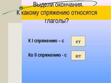 Выдели окончания. К какому спряжению относятся глаголы? К I спряжению – с Ко ...