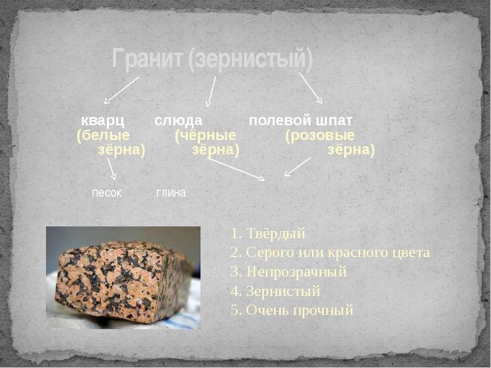 Гранит (зернистый) кварц слюда полевой шпат (белые (чёрные (розовые зёрна) зё...