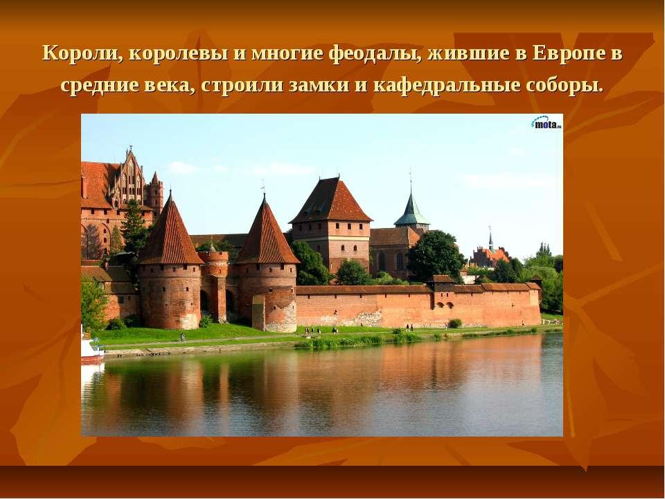 Короли, королевы и многие феодалы, жившие в Европе в средние века, строили за...