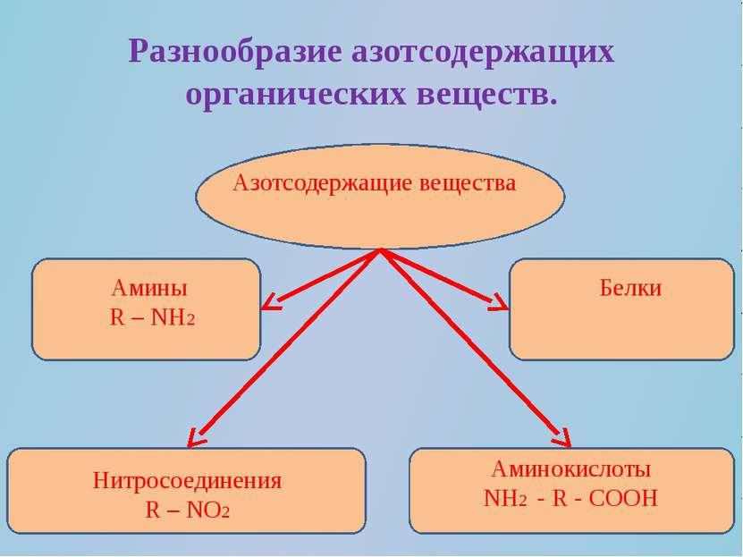 Разнообразие азотсодержащих органических веществ. Азотсодержащие вещества Ами...