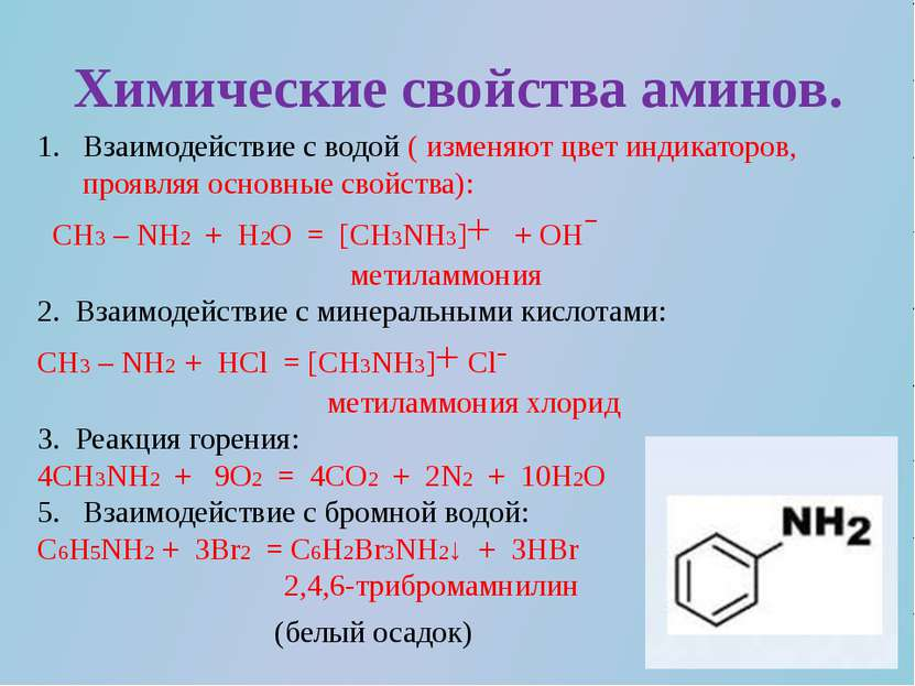 Химические свойства аминов. Взаимодействие с водой ( изменяют цвет индикаторо...